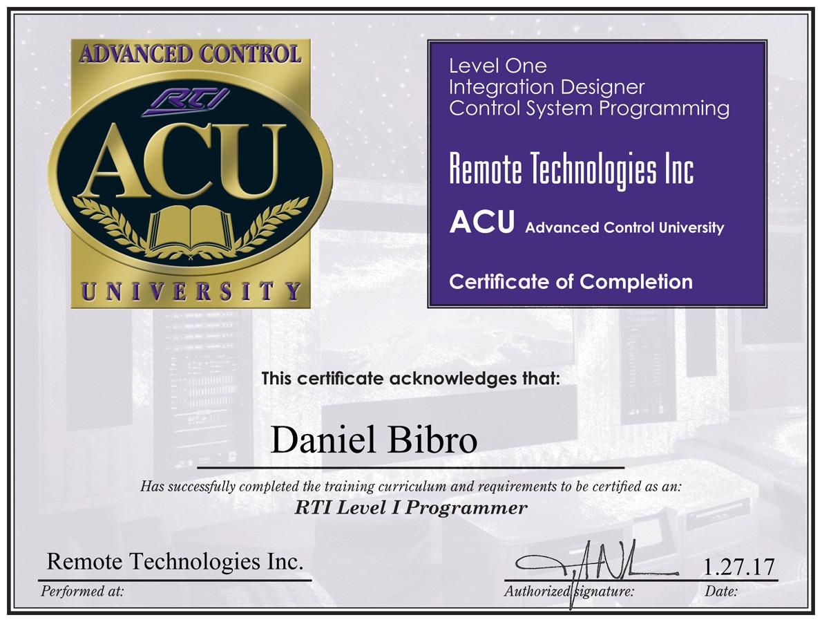 Certyfikat RTI Daniel Bibro Level 1