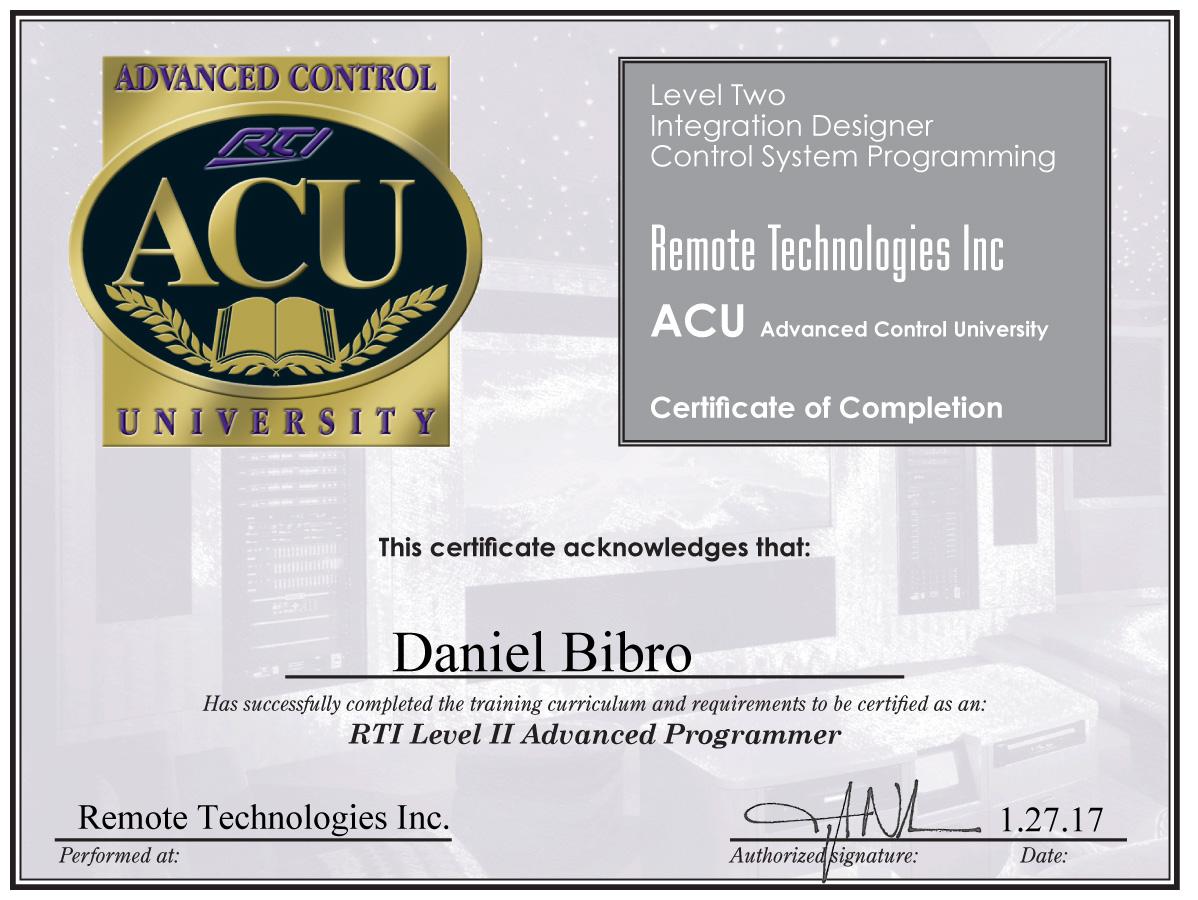 Certyfikat RTI Daniel Bibro Level 2