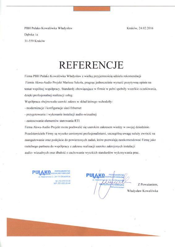 Referencje Kowalówka Władysław