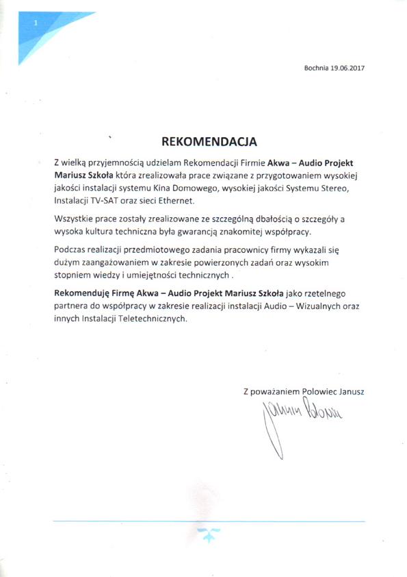 Referencje Janusz Polowiec
